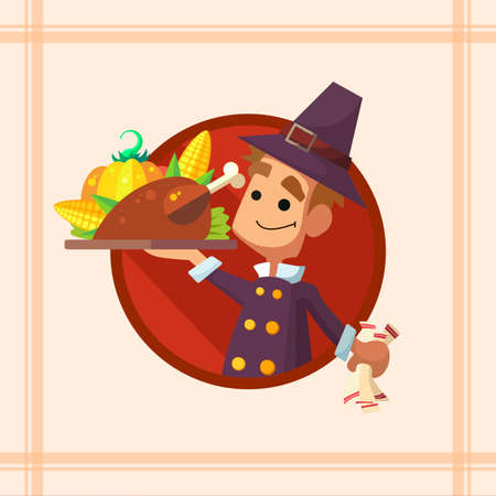thanksgiving menu: Flat vector card with cartoon pilgrim and kitchenware for menu in a restaurant or an invitation to Thanksgiving Day