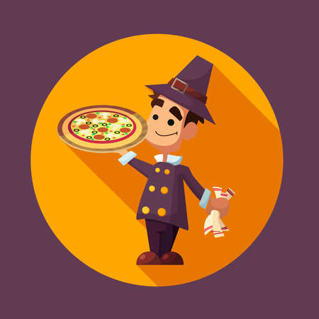 Flat vector card with cartoon pilgrim and kitchenware for menu in a restaurant or an invitation to Thanksgiving Day