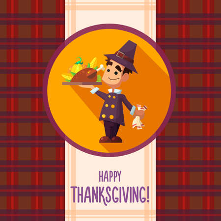 cartoon dinner: Flat vector card with cartoon pilgrim and kitchenware for menu in a restaurant or an invitation to Thanksgiving Day
