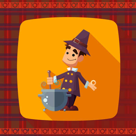cook cartoon: Flat vector card with cartoon pilgrim and kitchenware for menu in a restaurant or an invitation to Thanksgiving Day