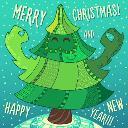 childish: Christmas greeting card: Merry Christmas and Happy New Year. Christmas tree in childish doodles style. Illustration