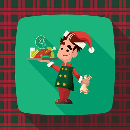comida de navidad: Tarjeta plana del vector con la historieta del duende y utensilios de cocina para el menú en un restaurante o una invitación para Navidad y año nuevo partido Vectores