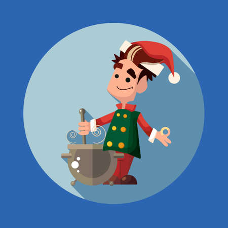 new year party: Flat vector card with cartoon Elf and kitchenware for menu in a restaurant or an invitation to Christmas and New Year party