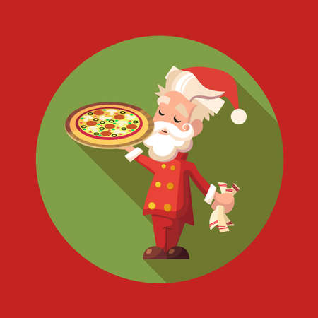new year party: Flat vector card with cartoon Santa Claus and kitchenware for menu in a restaurant or an invitation to Christmas and New Year party