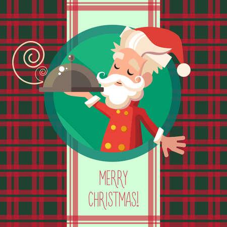 comida de navidad: Tarjeta plana con la historieta del duende y utensilios de cocina para el menú en un restaurante o una invitación para Navidad y año nuevo partido