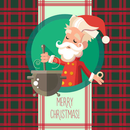 new year party: Flat card with cartoon Elf and kitchenware for menu in a restaurant or an invitation to Christmas and New Year party