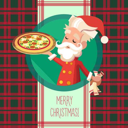 メニューのレストランやクリスマスと新年のパーティーへの招待状での漫画エルフと台所用品平らなカード  イラスト・ベクター素材