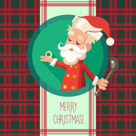 eating lunch: Flat vector card with cartoon Elf and kitchenware for menu in a restaurant or an invitation to Christmas and New Year party
