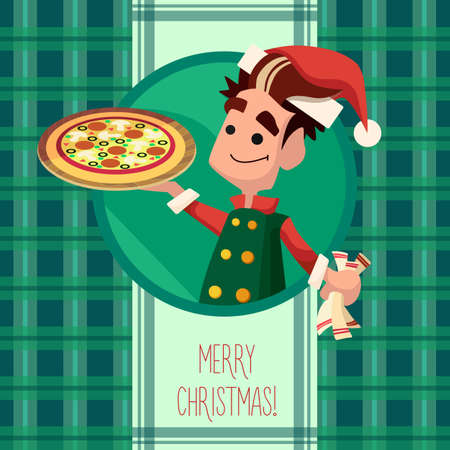 elf: Flat card with cartoon Elf and kitchenware for menu in a restaurant or an invitation to Christmas and New Year party
