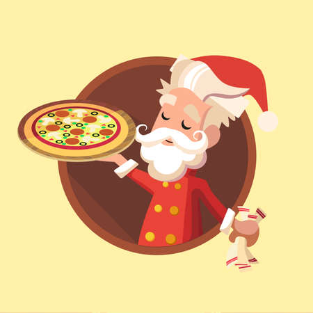 Flat card with cartoon Elf and kitchenware for menu in a restaurant or an invitation to Christmas and New Year party