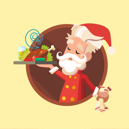 eating lunch: Flat card with cartoon Elf and kitchenware for menu in a restaurant or an invitation to Christmas and New Year party