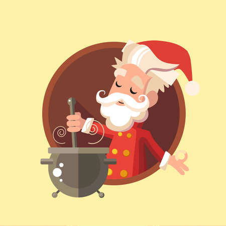 food illustration: Flat card with cartoon Elf and kitchenware for menu in a restaurant or an invitation to Christmas and New Year party