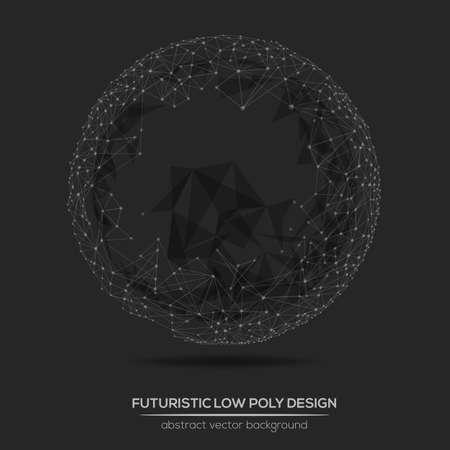 低ポリの抽象的な幾何学的な技術ベクトル デザイン要素。多角形のベクトル分子とコミュニケーションの背景。