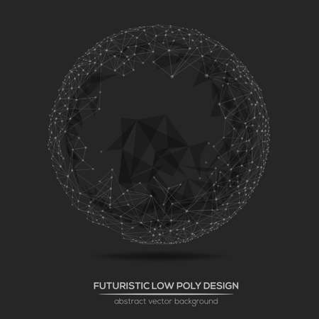 illustration abstract: Abstract low poly geometric technology vector design element. Polygonal vector molecule and communication background. Illustration