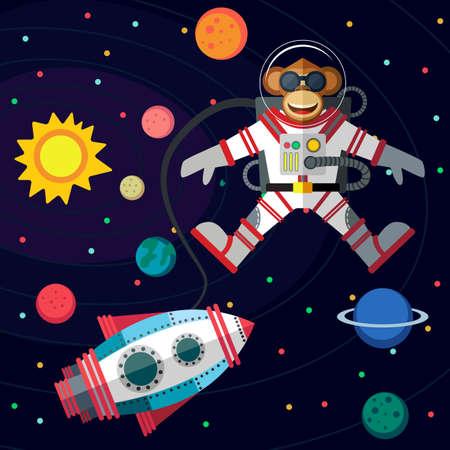 クリスマス グリーティング カード: メリー クリスマスと素晴らしい空間新しい年。猿のフラット スタイルで宇宙空間で宇宙飛行士。