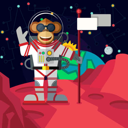 astronaut: Christmas greeting card: Merry Christmas and amazing space New Year. Monkey astronaut in outer space in flat style. Illustration