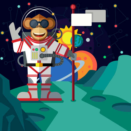 luna caricatura: Christmas greeting card: Merry Christmas and amazing space New Year. Monkey astronaut in outer space in flat style. Vectores