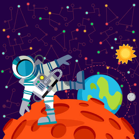 alien planet: Vector illustration in flat style about outer space. Planets in the univers. Greeting card