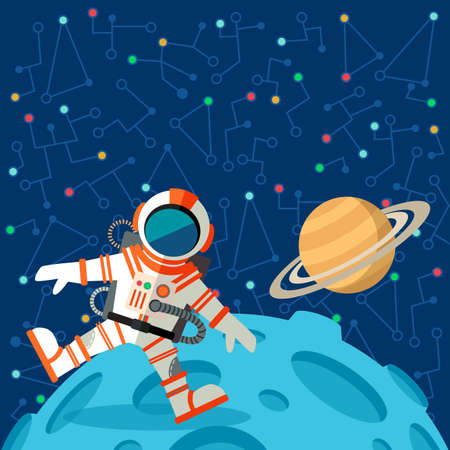 ship sky: Vector illustration in flat style about outer space. Planets in the univers. Greeting card