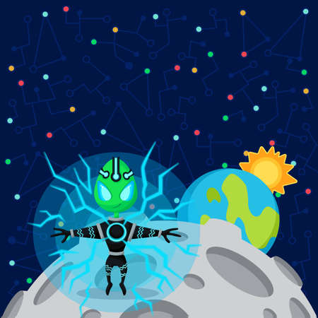 cartoon alien: Vector illustration in flat style about outer space. Planets in the univers. Greeting card