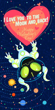 stylish couple: Vector illustration in flat style about outer space. Planets in the univers. Happy valentines day greeting card