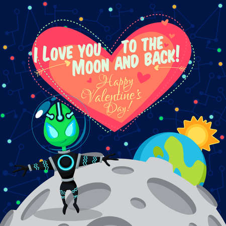Vector illustration in flat style about outer space. Planets in the univers. Happy valentines day greeting card
