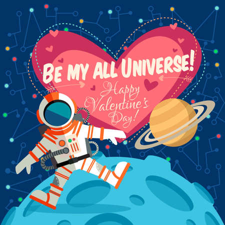 cosmonautics day: Vector illustration in flat style about outer space. Planets in the univers. Happy valentines day greeting card