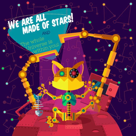 cyberpunk: Vector illustration in flat style about outer space and robot. Planets in the univers. Greeting card