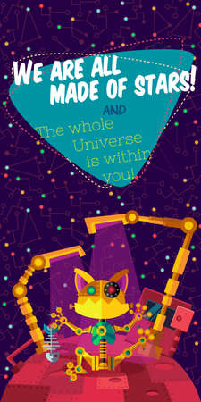 cosmonautics day: Vector illustration in flat style about outer space and robot. Planets in the univers. Greeting card