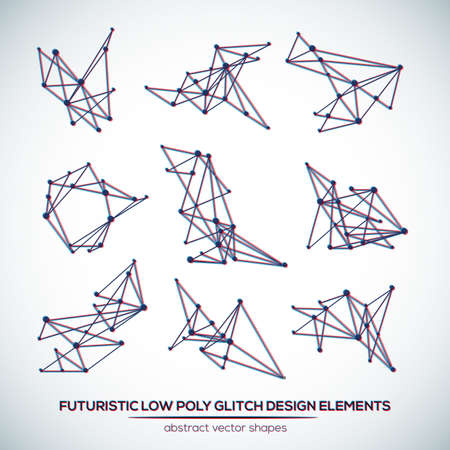glitch: Abstract low poly geometric technology vector design shapes. Polygonal vector molecule and communication elements. Glitch.