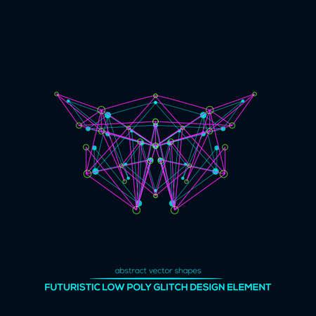 Formes abstraites de conception de vecteur de technologie géométrique low poly. Molécule vecteur polygonal et éléments de communication. Icône ronde