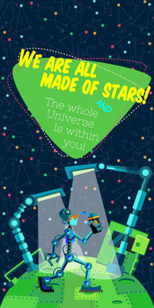alien planet: Vector illustration in flat style about outer space and robot. Planets in the univers. Greeting card