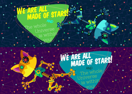 cosmonautics day: illustration in flat style about outer space and robot. Planets in the univers. Greeting card Illustration