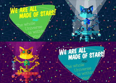 illustration in flat style about outer space and robot. Planets in the univers. Greeting card Illustration