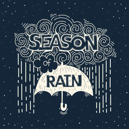 handlettering: Hand drawn vintage illustration with hand-lettering about seasons. Vector doddle.