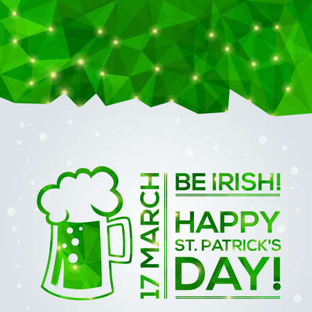 animal st  patricks day: Happy St. Patricks Day Greeting card. Vector illustration. Geometric, polygonal background. Luck of the Irish. Illustration