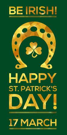 irish background: Happy St. Patricks Day Greeting card. Vector illustration. Geometric, polygonal background. Luck of the Irish. Illustration