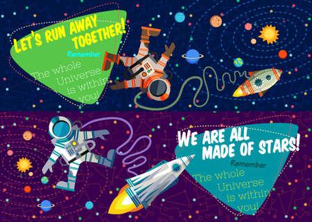 cartoon star: Ilustraci�n del vector en estilo plano sobre el espacio exterior. Los planetas en el universo. Tarjeta de felicitaci�n Vectores