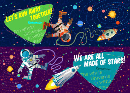 Vector illustration in flat style about outer space. Planets in the universe. Greeting card Illustration