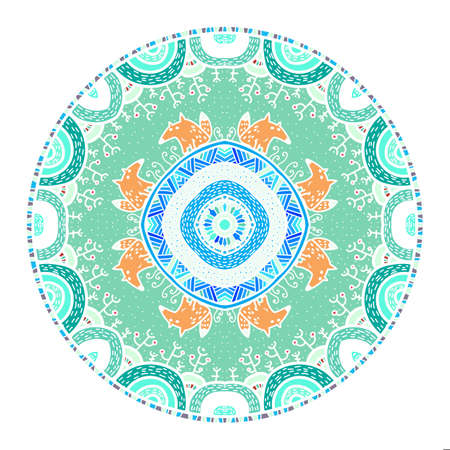 childish: Vector round mandala in childish style with forest and foxes. Nature print in doodle style. Illustration