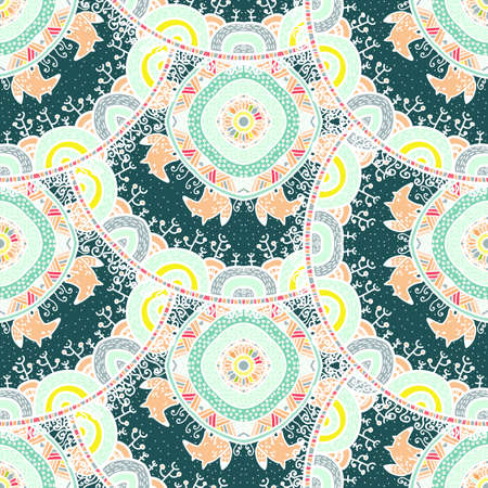 backgrund: Vector nature seamless pattern with forest and foxes. Vector round mandala in childish style. Ornamental doodle backgrund.