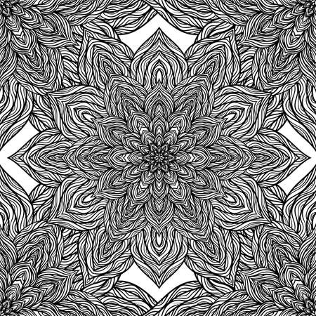 backgrund: Vector nature seamless pattern with abstract flowers. Vector round mandala in childish style. Ornamental doodle backgrund. Illustration