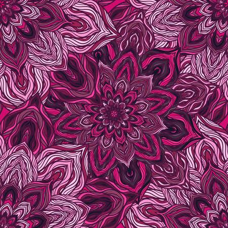 Vektor Natur nahtlose Muster mit abstrakten Blumen. Vector Runde Mandala in kindlichen Stil. Ornamental doodle grund.