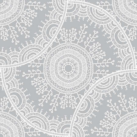 winter flower: Vector nature seamless pattern with forest. Vector round mandala in childish style. Ornamental doodle backgrund. Illustration