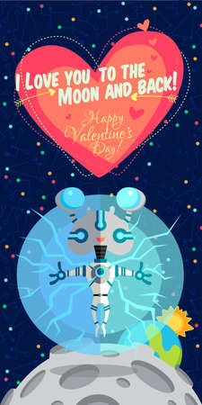 cosmonautics day: Vector illustration in flat style about outer space. Planets in the universe. Happy valentines day greeting card
