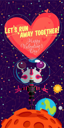 Vector illustration in flat style about outer space. Planets in the universe. Happy valentines day greeting card