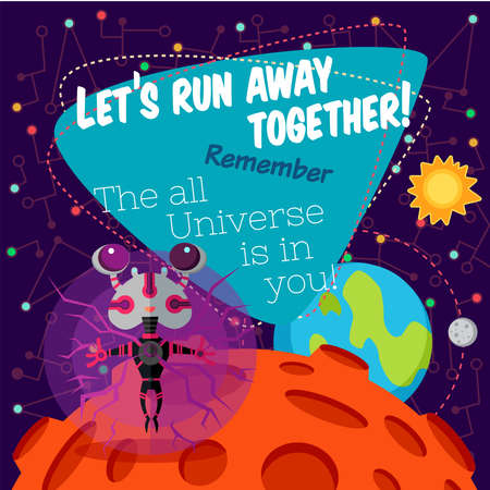 cartoon space: Vector illustration in flat style about outer space. Planets in the univers. Greeting card