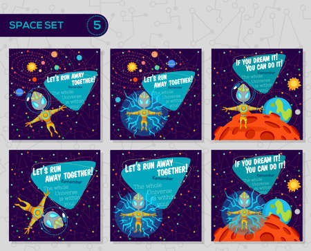 Vector illustrations in flat style about outer space. Planets in the universe. Greeting cards set