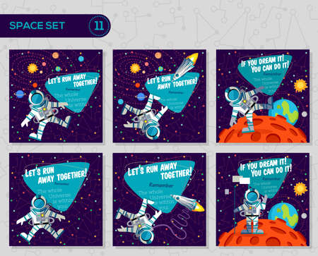 Vector illustrations in flat style about outer space. Planets in the universe. Greeting cards set Banco de Imagens - 55937059