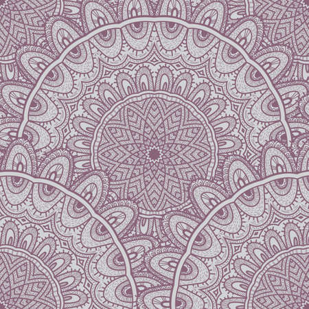 childish: Vector nature seamless pattern with abstract ornament. Vector round mandala in childish style. Ornamental doodle background.